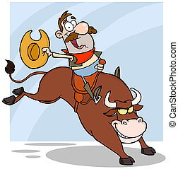 Cowboy Riding Bull In Rodeo