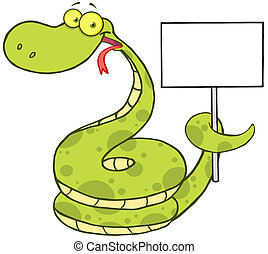 Snake Holding Up A Blank Sign - Happy Snake Cartoon...