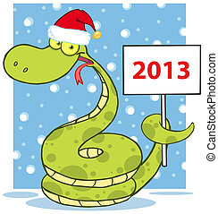 Happy Snake With Santa Hat