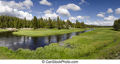 overview of the Yellowstone River in Yellowstone National...