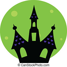 Halloween Haunted house with green moon behind