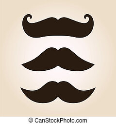 Retro mustache illustration set