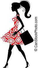 Illustration of fashion shopping girl