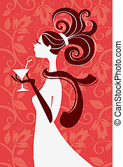 Beautiful woman silhouette with a glass in a hand, vector...