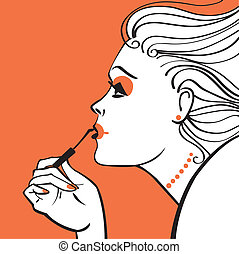 A vector illustration of the woman applying make-up