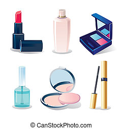 Vector icon set of cosmetic elements on white