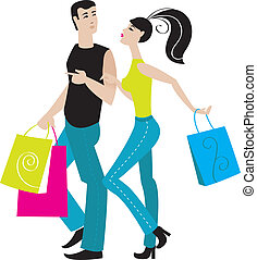 Illustration of shopping girl and boy
