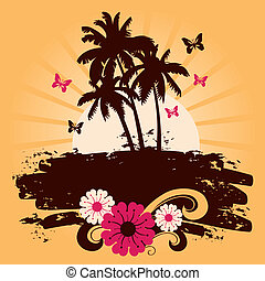 Summer background with palms, vector illustration