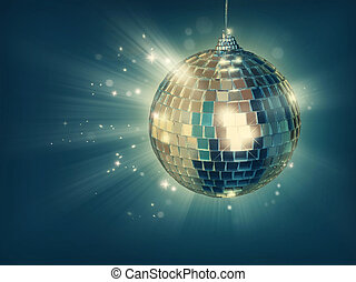 Disco ball on green background