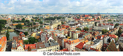 Wroclaw - Aerial view on Wroclaw from Cathedral of St. John...