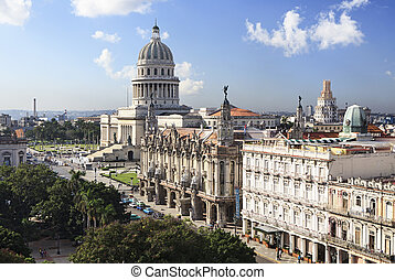 Capitolio and Grand Theater of Havana. Historic center....