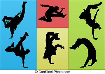 Breakdance - Guys dancing a break on different color...