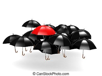 Overhead View of Many Umbrellas - Rendered artwork with...