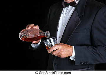 Man Pouring Drink - Man in Tuxedo Pouring Himself a Drink