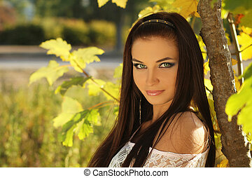 Beauty woman portrait of teen girl beautiful cheerful...