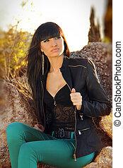 Fashion brunette woman, outdoors portrait