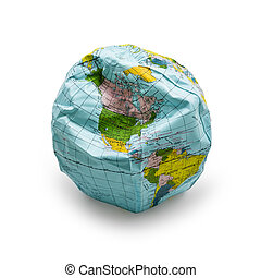 deflated globe - deflated earth isolated on white background...