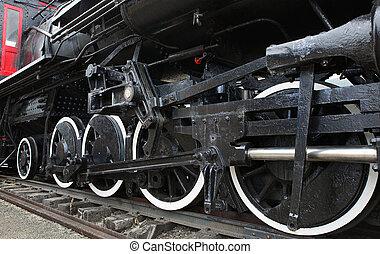train, vieux, vapeur,  locomotive
