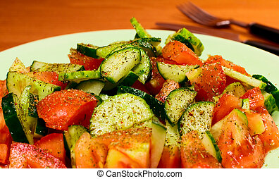 salad with spices - fresh vegetable salad with spices close...