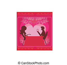 man proposing with an engagement ring to his love in a restaurant - vector