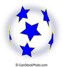 Soccer ball with blue stars as a screening
