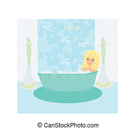 pretty girl enjoying elegant spa