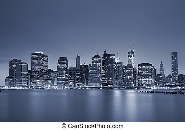 Lower Manhattan - Toned image of Lower Manhattan at twilight...