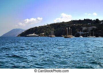 Lipari Island, Sicily - Coast of the island of Lipari,...