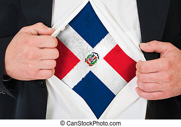 The Dominican Republic flag painted on the chest of a man
