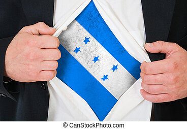 The Honduran flag painted on the chest of a man