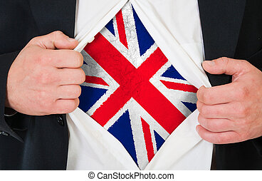 The British flag painted on the chest of a man