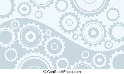 Gear and Cogwheels - Horizontal abstract light gray...