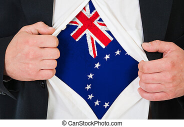 The Cook Islands flag painted on the chest of a man