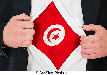 The Tunis flag painted on the chest of a man