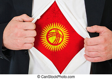The Kyrgyz Flag painted on the chest of a man