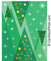 Christmas background with trees - Green Xmas vector...