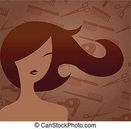 Hair accessories and woman with haircut - Hair accessories...
