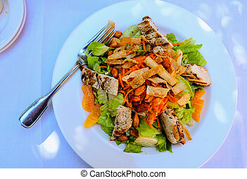 Asian chicken salad top view