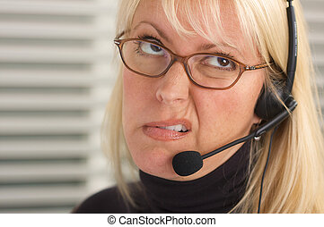 Disgusted Businesswoman - Attractive businesswoman talks on...