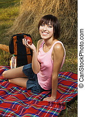 Lovely girl on picnic - Lovely girl having a rest on picnic...