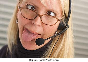 Cross-eyed Businesswoman - Cross-eyed businesswoman talks on...
