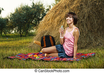 Lovely girl on picnic - Lovely girl having a rest on picnic