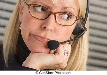 Bored Businesswoman - Bored Attractive businesswoman talks...