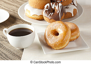 Fresh Homemade Donuts with Black Coffee - Fresh Homemade...