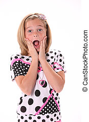 Surprised young girl - Ten year old female girl in pink...