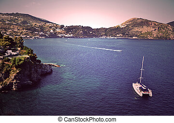 Lipari Island, Sicily - Coast of the island of Lipari,...
