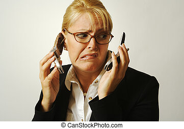 2 Frustrated Cell Phones - Business woman expresses her...