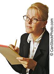 businesswoman listen - Beautiful Woman Business Listens...