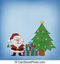 Santa claus recycled paper craft on paper background - Santa...