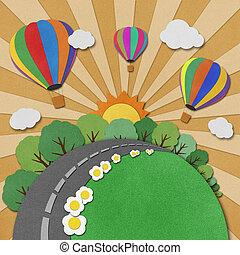 リサイクルされる,  balloon, ペーパー, 背景